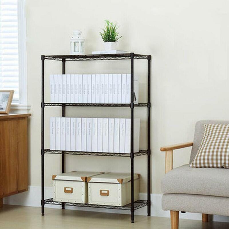 4 Layer Wire Rack Metal Shelf Adjustable Unit Garage Kitchen Storage Organizer