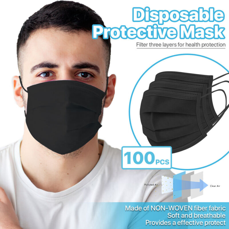 [black] 100 Pcs Disposable Face Masks 3-ply Non Medical Surgical Earloop Cover