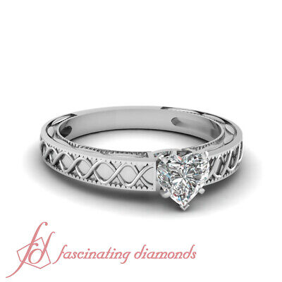 Solitaire Cross Wave Engagement Ring 3/4 TCW Heart Shaped D-Color Diamond GIA