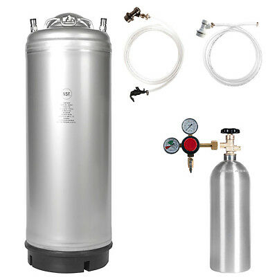 Beer Keg Kit 5 Gal Ball Lock Keg 5 Lb Co2 Tank Regulator Parts - Ships Free