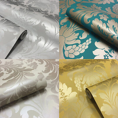 Home Decor Metallic Classic Damask Wallpaper Soft Grey Silver Teal Mustard Gold