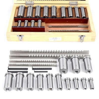22pc Keyway Broach Kit Collared Bushing Shim Set Metric Size Metalworking Tool