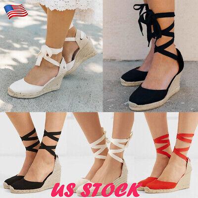 Heel Lace Up Platform Shoe (Women Lace Up Wedge Sandals Espadrille Platform Med Heel Summer Casual Shoes USA )