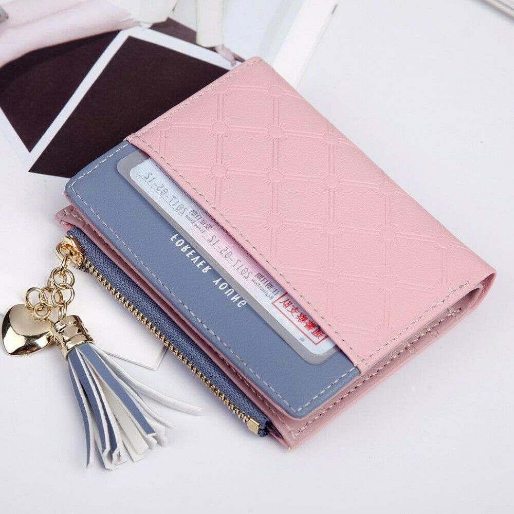 Women Short Wallets Small Bifold Leather Pocket Wallet Mini Purse Card Holder US Clothing, Shoes & Accessories