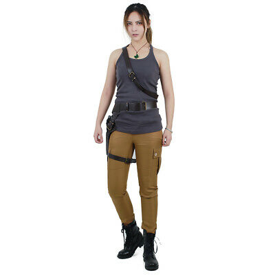Sexy Lara Croft Tomb Raider Cosplay Costume Outfits with Gun Holster Belt