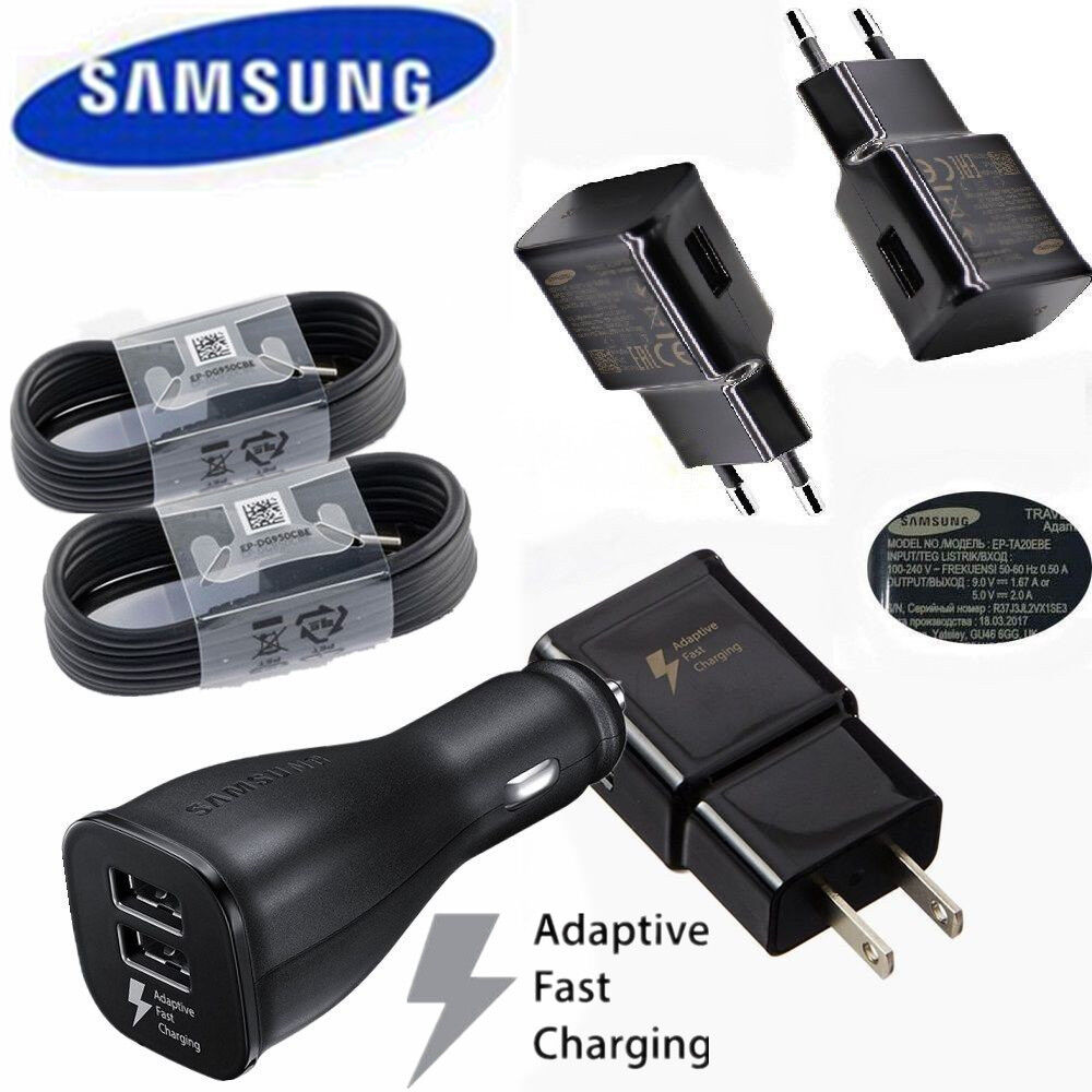 OEM Samsung Galaxy S9 S8 Plus Note 9 Fast Charger Wall + Car