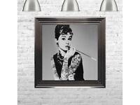 Liquid art Audrey Hepburn contemporary print swarovski crystals