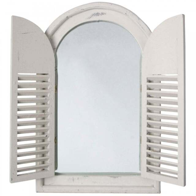 Antique White Shabby Chic Style Wooden Arched Garden Glass Mirror With Shutters