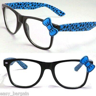 - Blue Wayfarer Clear Lens Polka Dot Sunglasses Bow Bowknot Hello Kitty Nerd