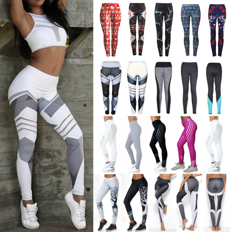 Damen Leggings Push Up Sporthose Fitness Gym Jogging Yoga Laufhose Leggins Neu