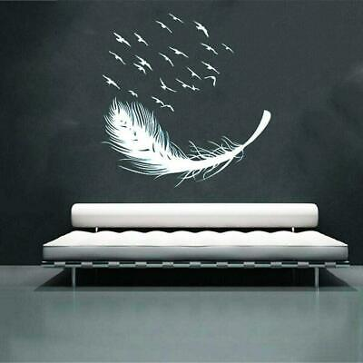 Home Decoration - Large Feather Wall Art Stickers Birds Vinyl Decal Living Room Bedroom Home Decor