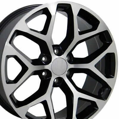 20x9 Wheels Fit Silverado Sierra Chevy Blk Mach'd Rims 5668 W1X SET