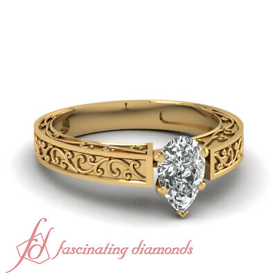 1/2 Carat Filigree Design Solitaire Diamond Rings With Pear Shaped In Center GIA
