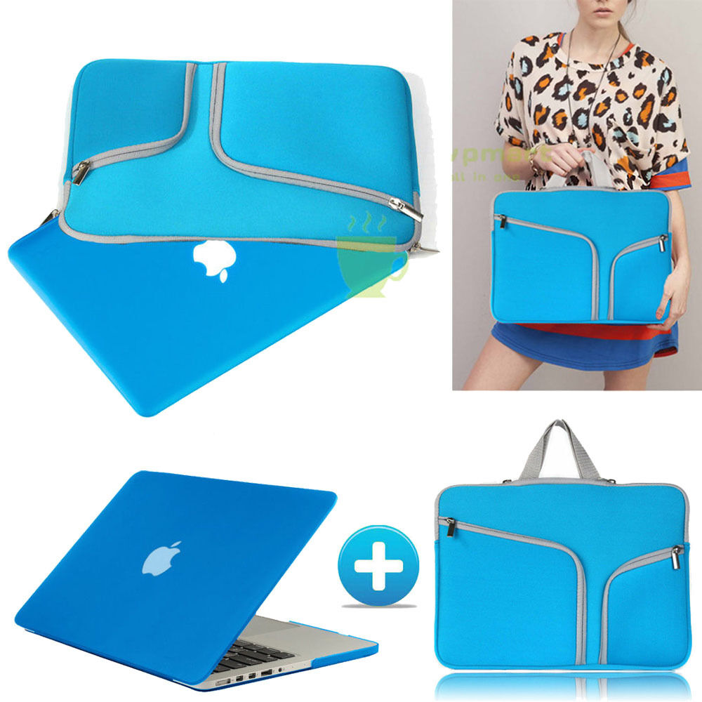 Azure Blue Rubberized Case Cover +sleeve Bag For Macbook ...
