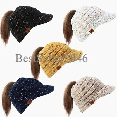 Women Warm Visor Beanie Tail Cap Ponytail Soft Stretch High Bun Cable Knit Hat