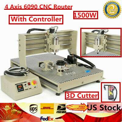 Usb 1500w 4 Axis Cnc 6090 Router Engraver 3d Drilling Cutter Machinecontroller