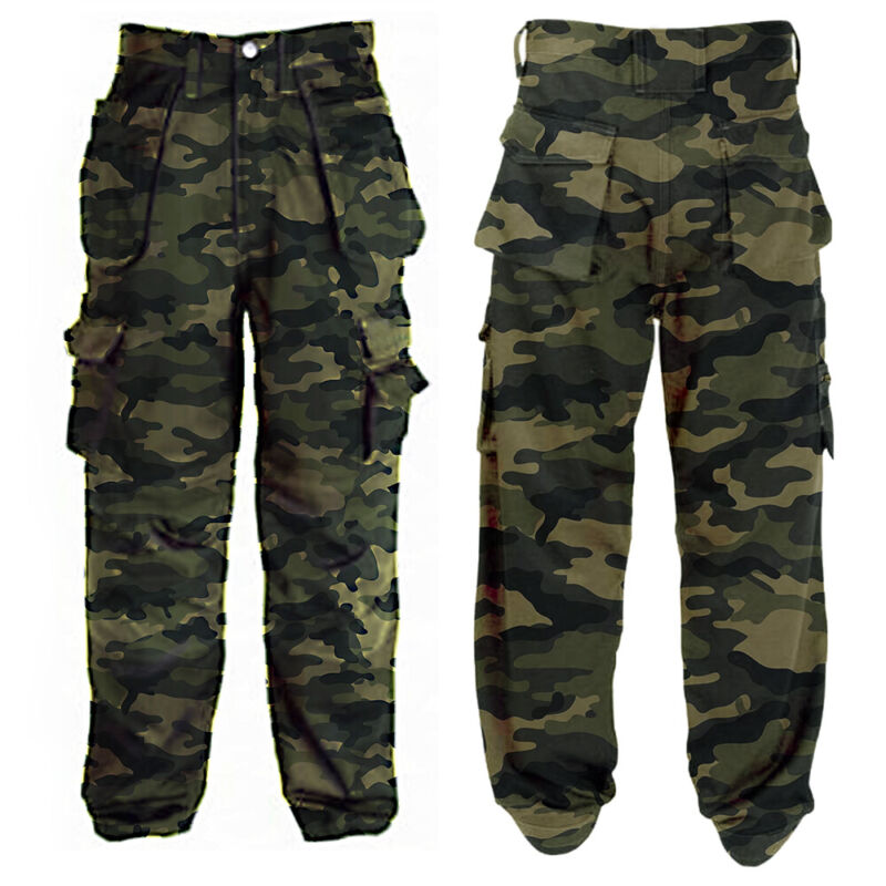 ❤️ Mens Military Combat Trousers Camouflage Cargo Pockets Camo Casual Work Pants