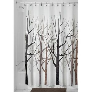 Shower Curtain Tree Forest Bird Black Grey Brown | eBay