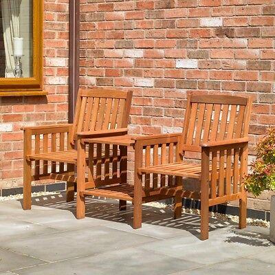 Garden Furniture - Wido HARDWOOD GARDEN PATIO LOVE BENCH SEAT WOODEN OUTDOOR FURNITURE CHAIRS TABLE
