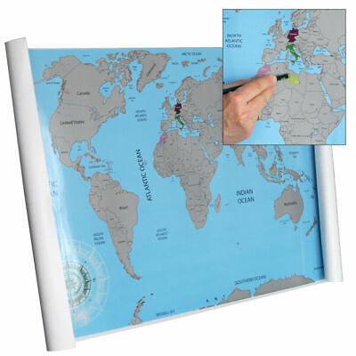 1 MAPPA DEL MONDO DA GRATTARE - SCRATCH WORLD MAP FORMATO MAPPA 88x52cm