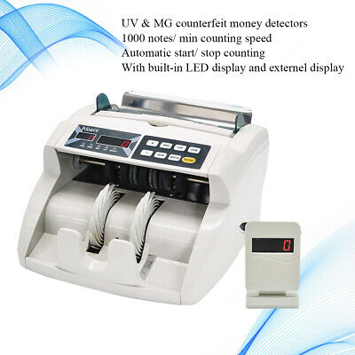 Money Bill Counter Cash Counting Machine Bank Currency Counterfeit Detector E3n0
