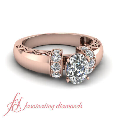 1 Carat Oval Shaped And Round Diamond Pave Set Engagement Rings For Women GIA