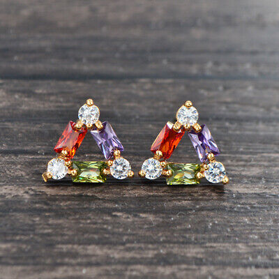 Fashion Gold Plated Multi-Color Cubic Zirconia Triangle CZ Stud Earrings Jewelry