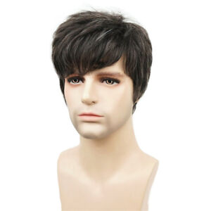 Mens Handsome Short Cosplay Wigs Man Brown Mixed Natural Hair Wig New Fashion UK