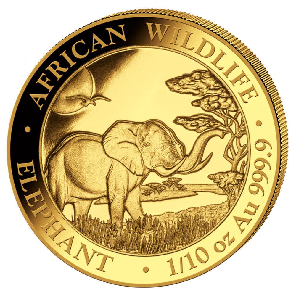 1/10 oz Gold Somalia Elefant 2019 African Wildlife - 100 Schilling Stempelglanz