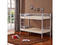 **SUPERB SILVER FINISH** BRAND NEW SINGLE METAL BUNK BED - AVAILABLE WITH MATTRESS RANGE