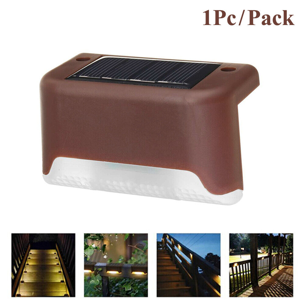 1Pc Solar Powered LED Deck Lights Outdoor Path Garden Stairs Step Fence Lamp Home & Garden