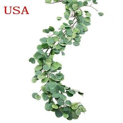 USA 2PCS Artificial Eucalyptus leaves Garland Vine Wedding Greenery Home Decor (Artificial Eucalyptus Garland)