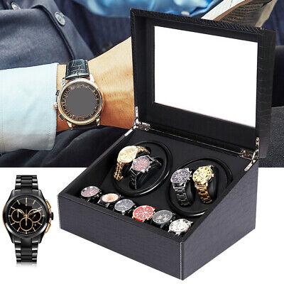 4+6 Automatic Rotation Watch Winder Self Winding Display PU Box Storage Case USA