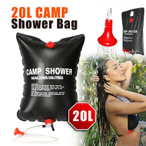 New Solar Energy Heated Portable Shower Bag PVC Outdoor Camping Travel 20L Black