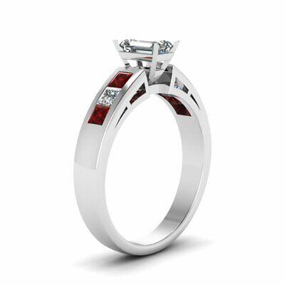 Princess Ruby Channel Set Engagement Ring 1.50 Ct Emerald Cut VVS2 Diamond GIA 2