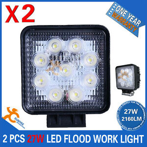 PAIR-27W-LED-WORK-LIGHT-OFFROAD-FLOOD-LAMP-TRUCK-BOAT-BAR-12V-24V-4WD-4x4-UTE