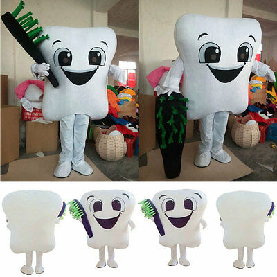 Tooth Costumes (Party Street Outfits Tooth Mascot Costume Dental Care Adult Size Dress Cospaly)