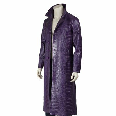 Joker Jared Leto Suicide Costume | Mens Joker Purple Trench Coat Jacket](Trenchcoat Costume)