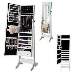 NEW Mirror Jewellery Cabinet Floor Standing Storage Box Organiser White UK