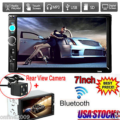 7'' HD Bluetooth 2Din Car Stereo Radio MP5 Player Touch Screen FM HD +Camera Cam