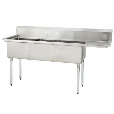 3 Three Compartment Commercial Stainless Steel Sink 74.5 X 23.8 G