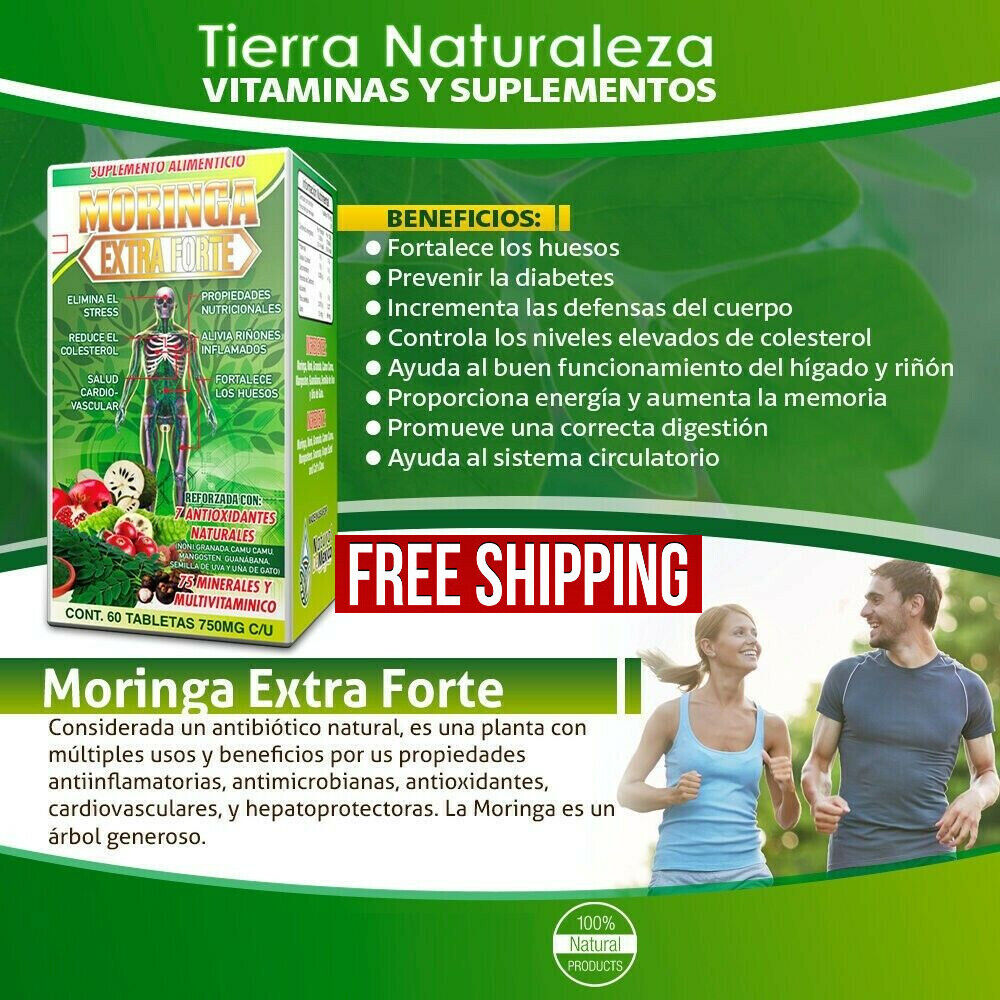 Moringa Extra Forte- 7 Antioxidantes Naturales - Reduce Colesterol - Minerales