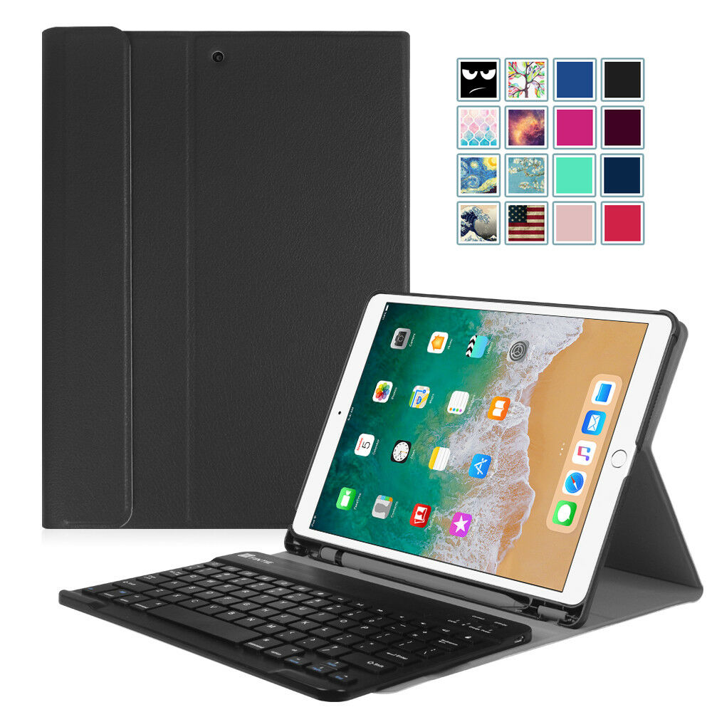 For iPad Pro 10.5 Keyboard Case Cover with Pencil Holder Blu