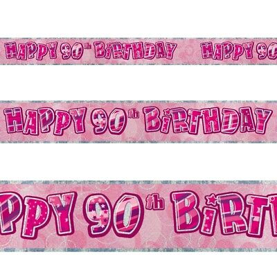 9ft Happy 90th Birthday Pink Sparkle Prismatic Party Foil Banner Decoration