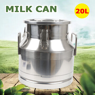20l Stainless Steel Milk Can Wine Pail Bucket Tote Jug 5.25 Gallon