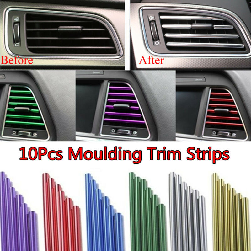 10pcs Chrome Air Conditioner Outlet Vent Trim Grille Strip Car Auto Accessory