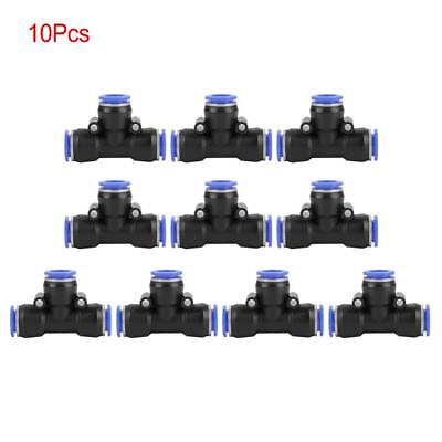 10pcs Tube Od 12mm 12 Tee Union Pneumatic Push Connector Air Line Quick Fitting