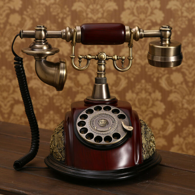 Antique Style Phone Old Fashioned Rotary Dial Phone Handset Desk Telephone New