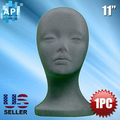 Gray Styrofoam Foam Mannequin Wig Head Display Hat Cap Wig Holder Grey 1pc