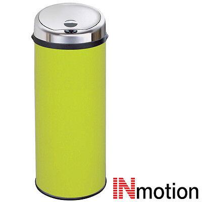 Inmotion 50L Lime Green Stainless Steel Auto Sensor Kitchen Waste Dust Bin